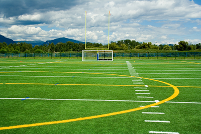 Artificial turf field, showing goalposts and marking lines